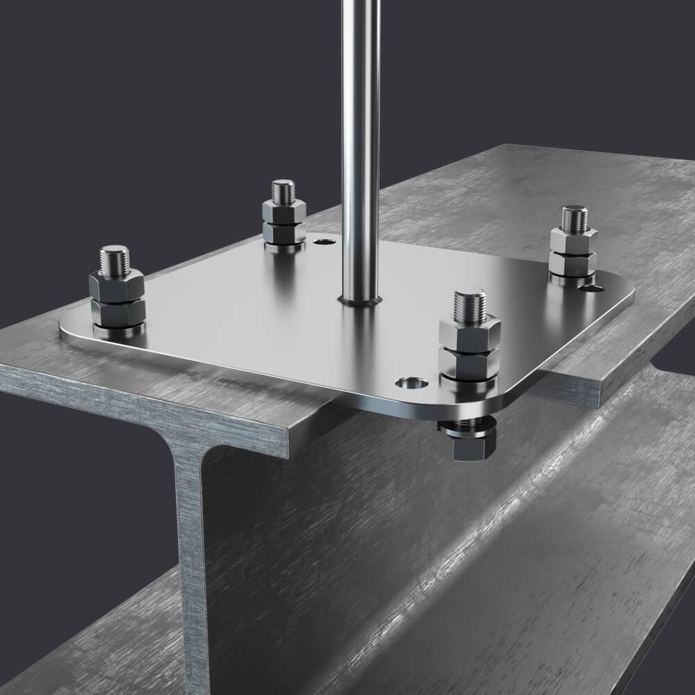 Individuální ochrana pro tři osoby- Kotevní bod Trax BX ST- připevnění k ocelovým konstrukcím