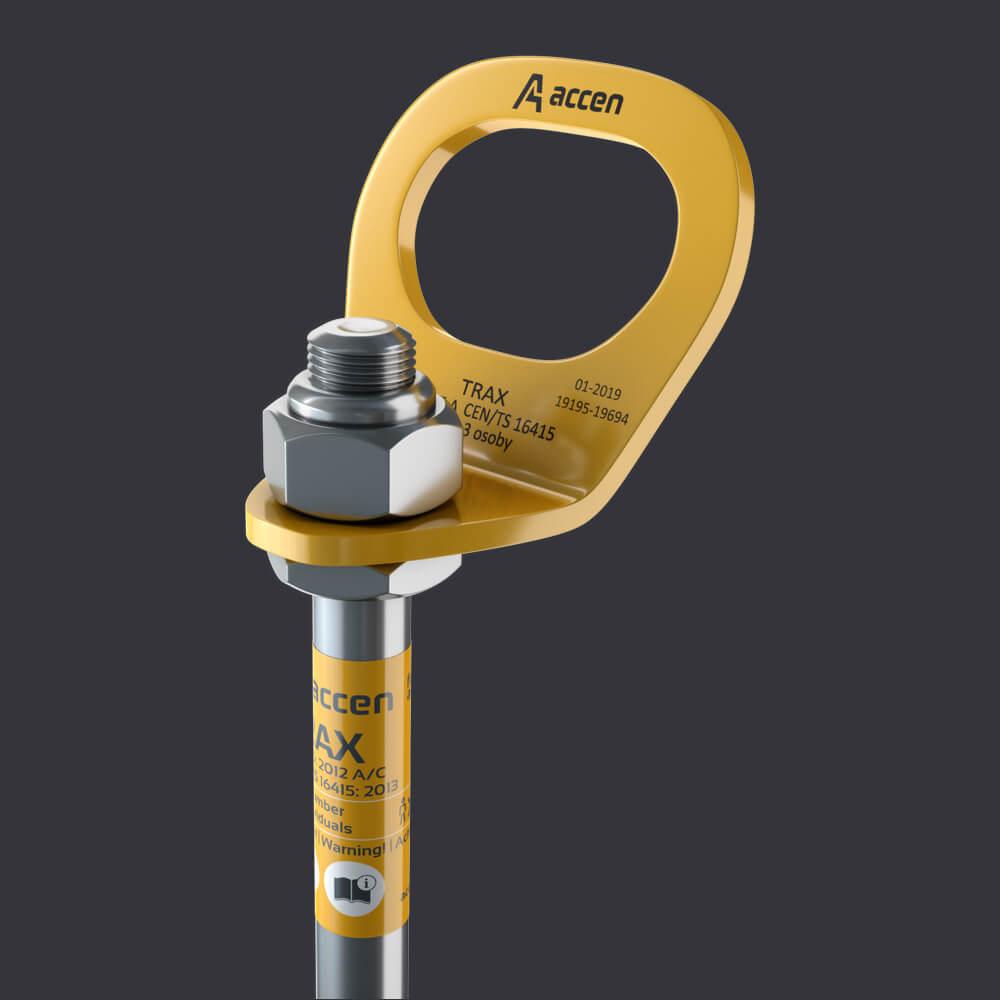 Accen- Kotevní bod Trax BX- připevnění: železobetonový základ, žlabové a kanálové desky