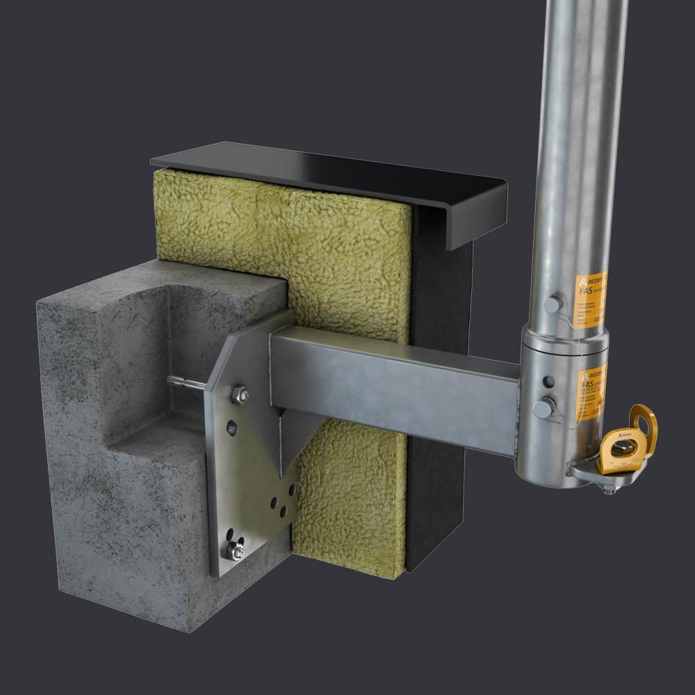 Fasádní přístupový systém FAS AT- Podkrovní objímka- montáž k železobetonovém podkroví