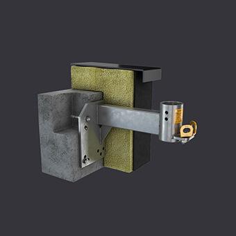 Podkrovní objímka FAS AT- montáž k železobetonovém podkroví- fasádní přístupový systém Accen